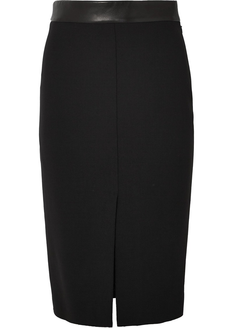 Tom Ford Leather-trimmed Wool-blend Midi Skirt