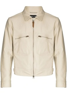 Tom Ford logo-patch zip-up cotton jacket