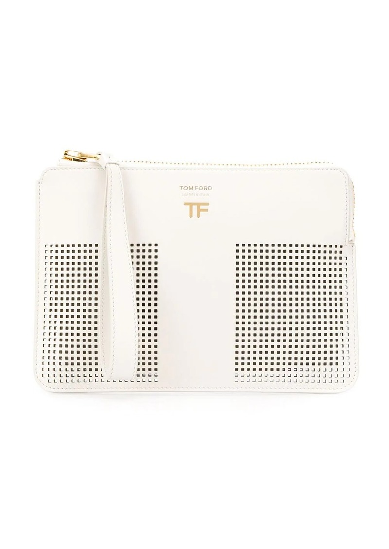 Tom Ford logo plaque perforated clutch