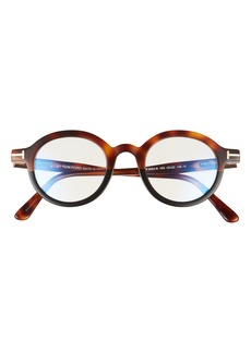 Men's Tom Ford 45mm Small Blue Light Blocking Glasses - Shiny Medium Havana/ Clear