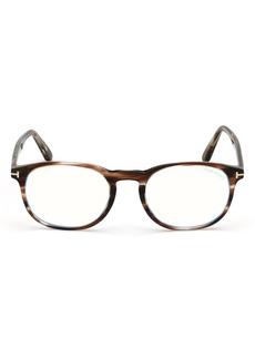 Men's Tom Ford 51mm Blue Light Blocking Glasses - Brown Havana/ Clear Blue Block