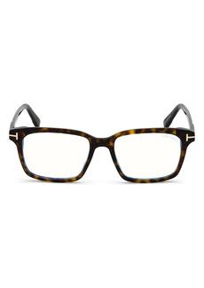 Men's Tom Ford 51mm Square Blue Light Blocking Glasses - Dark Havana/ Blue Block Lens