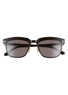 Men's Tom Ford 54mm Blue Light Blocking Glasses & Clip-On Sunglasses - Black/ Rose Gold/ Clear/ Smoke