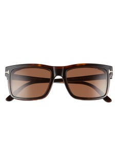 Men's Tom Ford 54mm Blue Light Blocking Glasses & Clip-On Sunglasses - Dark Havana/ Clear/ Roviex