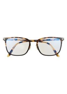 Men's Tom Ford 55mm Square Blue Light Blocking Glasses - Tortoise/blue
