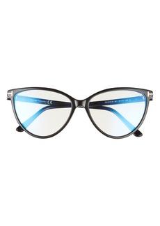 Men's Tom Ford 57mm Round Blue Light Blocking Optical Glasses - Black Shiny Rose Gold/ Clear