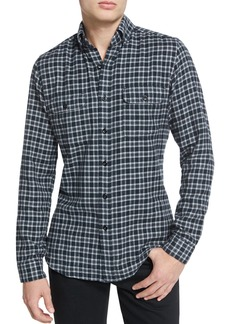 Tom Ford Mini-Plaid Tailored-Fit Sport Shirt