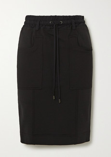 Tom Ford Paneled Jersey, Twill And Piqué Skirt