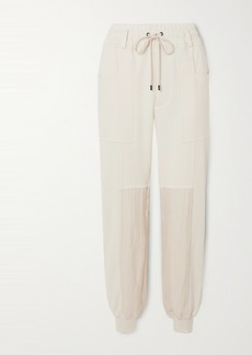 Tom Ford Paneled Silk And Cotton-blend Jersey Track Pants