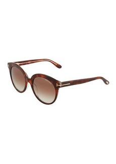 Tom Ford Plastic Round Tortoiseshell Sunglasses