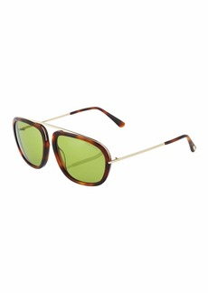Tom Ford Plastic/Metal Havana Aviator Sunglasses