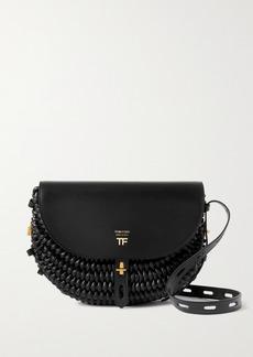 Tom Ford Saddle Woven Leather Shoulder Bag