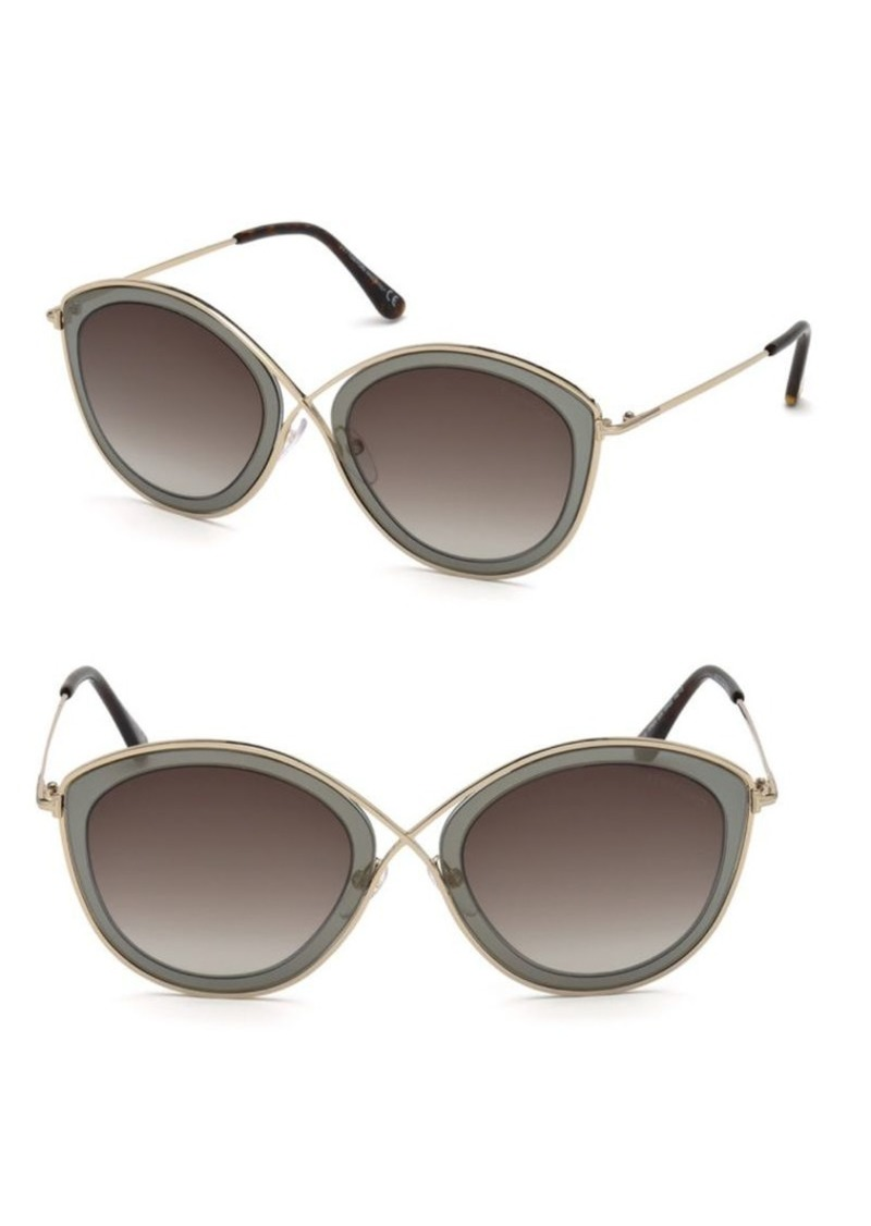 2a8886753d387 Tom Ford Sascha 55MM Butterfly Sunglasses