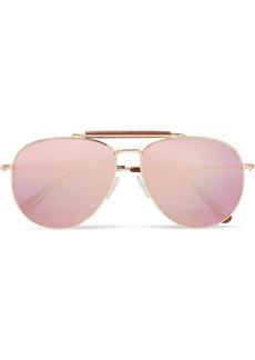 Tom Ford Sean aviator-style rose gold-tone mirrored sunglasses