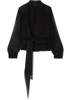 Tom Ford Silk-georgette Wrap Blouse