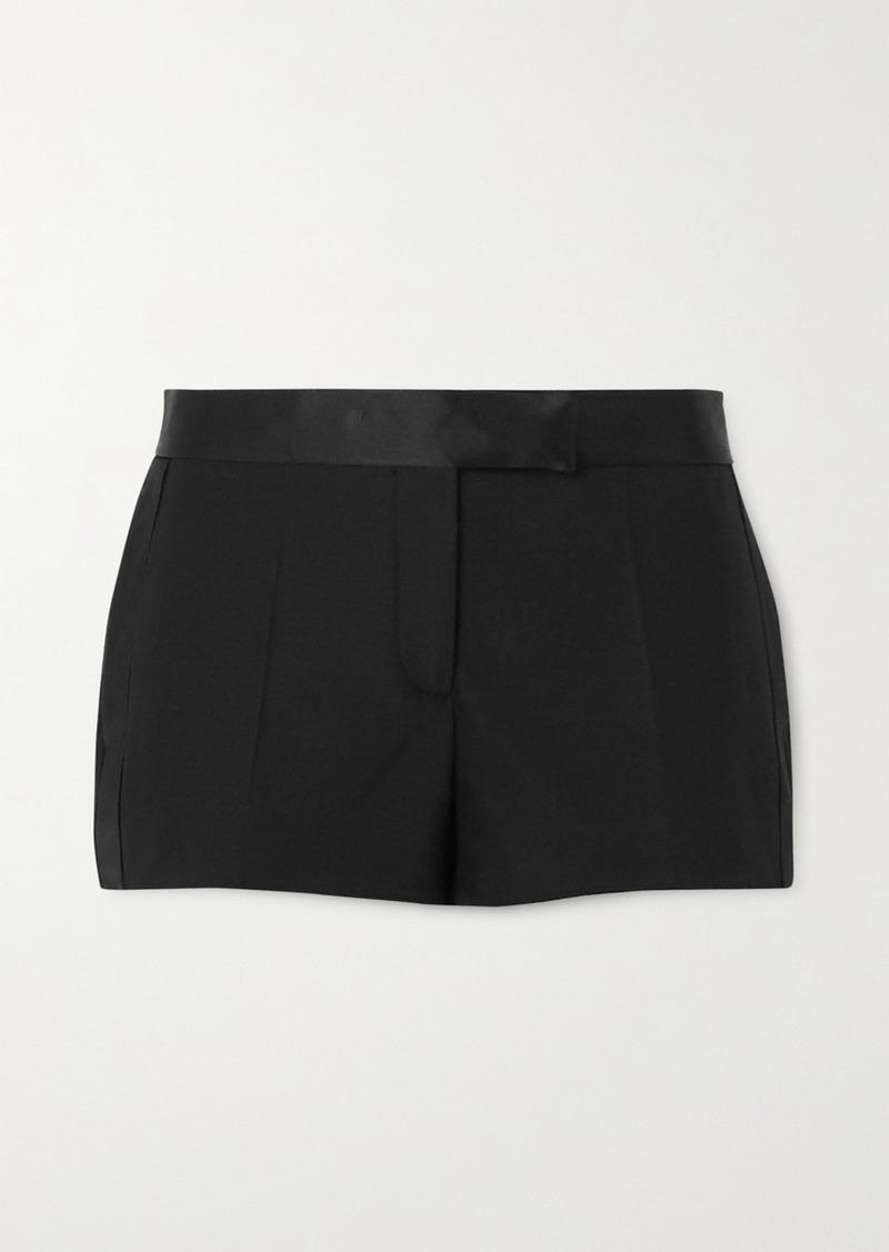Tom Ford Silk Satin-trimmed Wool-blend Shorts