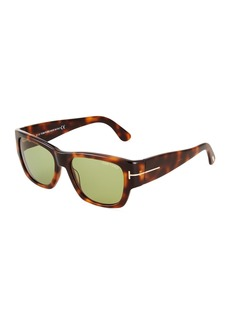 Tom Ford Square Havana Plastic Sunglasses