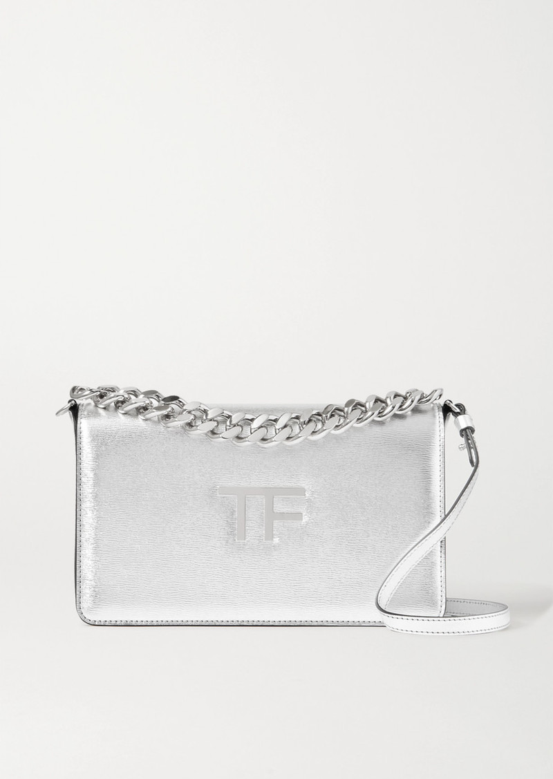 Tom Ford Tf Chain Medium Metallic Textured-leather Shoulder Bag