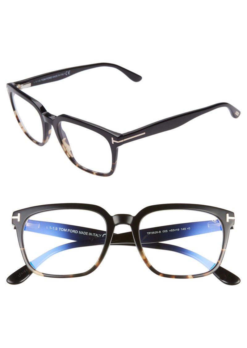 Tom Ford 53mm Blue Light Blocking Square Glasses
