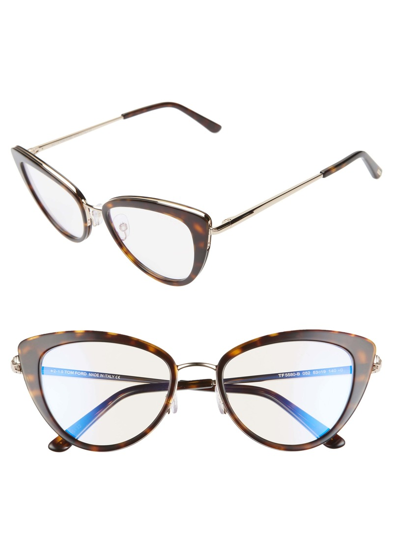 Tom Ford 53mm Cat Eye Blue Light Blocking Glasses