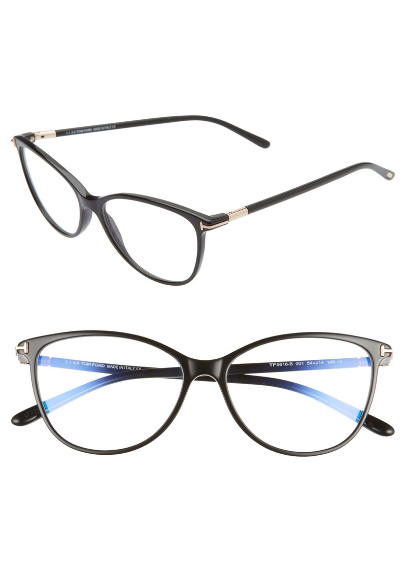 Tom Ford 54mm Blue Light Blocking Cat Eye Glasses