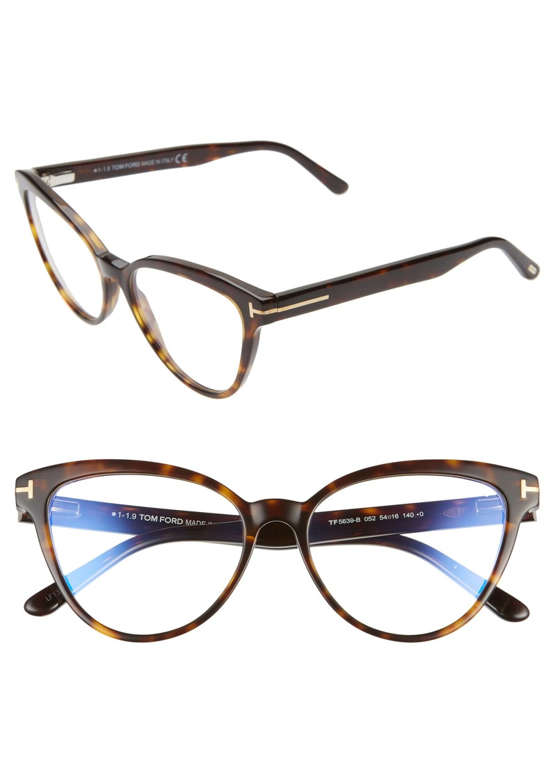 Tom Ford 54mm Blue Light Blocking Cat Eye Optical Glasses