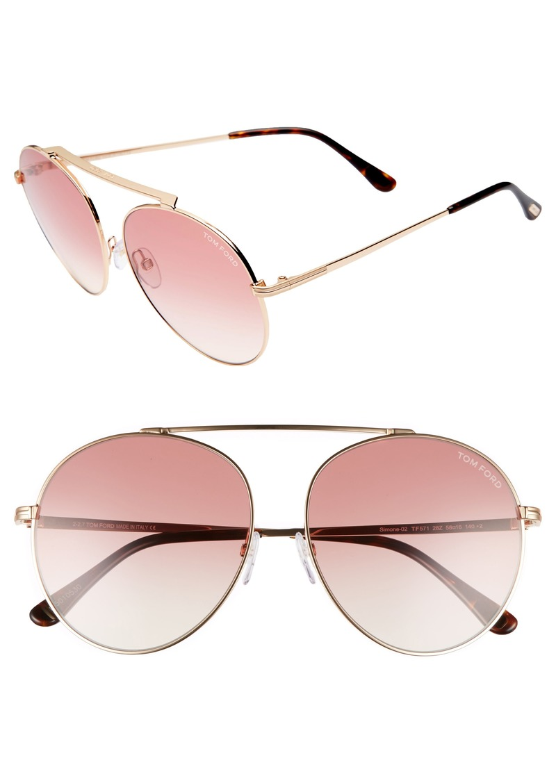 c4b3057d6a65 Tom Ford Simone 58mm Gradient Mirrored Round Sunglasses (Nordstrom  Exclusive)
