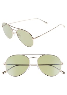 Tom Ford Ace 55mm Stainless Steel Aviator Sunglasses