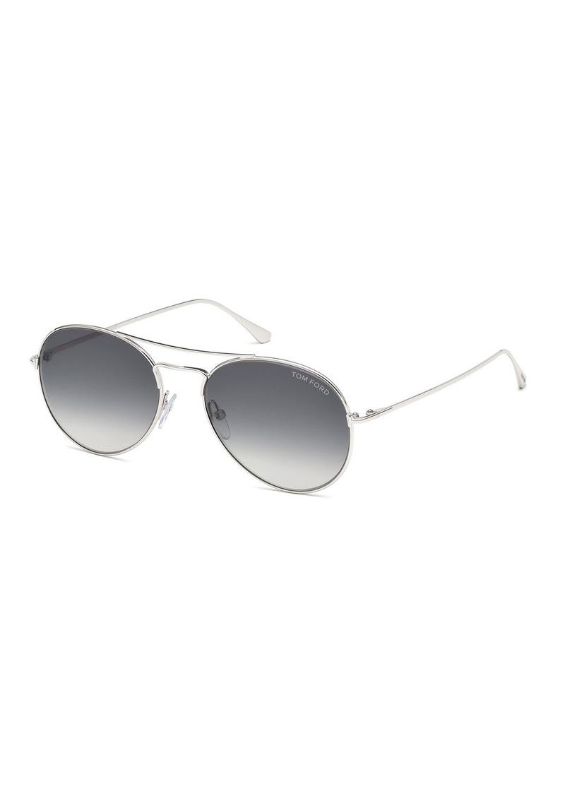 TOM FORD Ace Metal Pilot Sunglasses  Shiny Rhodium/Gradient Smoke