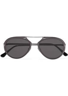 Aviator-style gunmetal-tone mirrored sunglasses