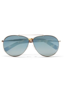 TOM FORD Aviator-style rose gold-tone mirrored sunglasses
