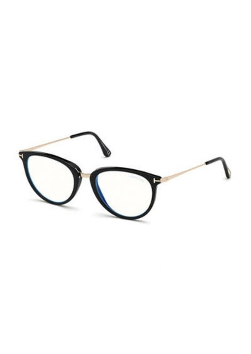 TOM FORD Blue Block Cat-Eye Acetate & Metal Optical Frames