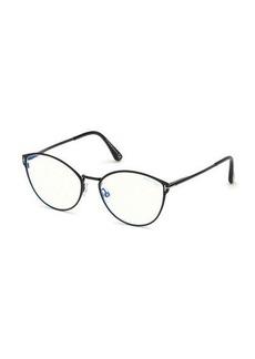 TOM FORD Blue Block Cat-Eye Metal Optical Frames