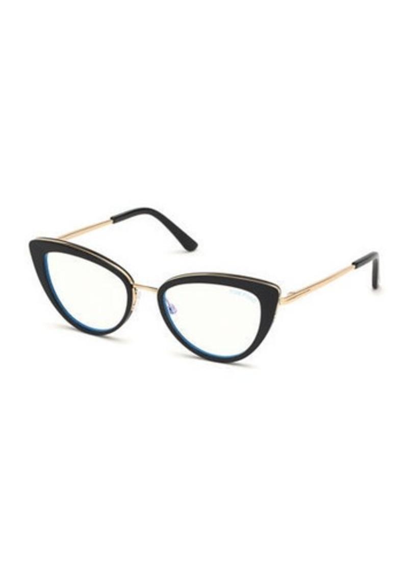 TOM FORD Blue Block Metal Cat-Eye Optical Frames