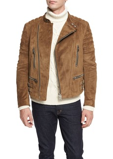 TOM FORD Café Quilted Suede Biker Jacket