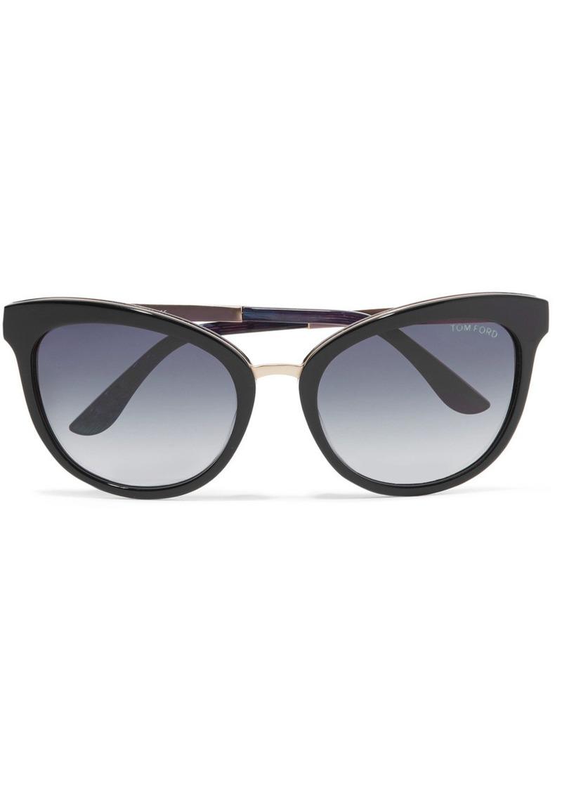 3f0fbe76c Tom Ford Cat-eye acetate and gold-tone sunglasses   Sunglasses