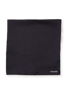 TOM FORD Contrast-Trim Solid Silk Pocket Square