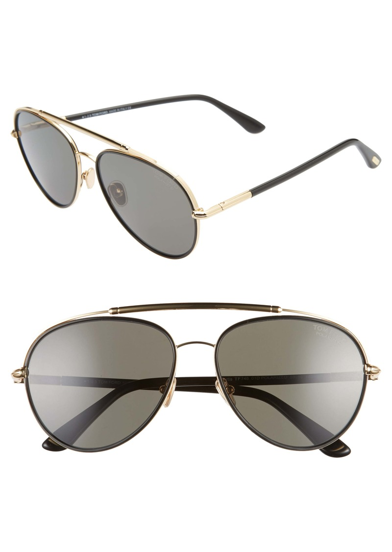 Tom Ford Curtis 59mm Polarized Aviator Sunglasses