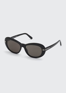 TOM FORD Elodie Round Plastic Sunglasses