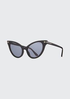 TOM FORD Evelyn Dramatic Plastic Cat-Eye Sunglasses