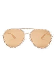 Tom Ford Eyewear Crystal-embellished aviator sunglasses