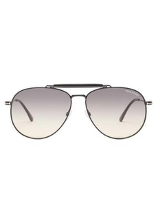 Tom Ford Eyewear Leather-trimmed aviator metal sunglasses
