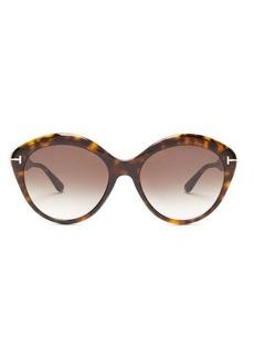 Tom Ford Eyewear Maxine round tortoiseshell-acetate sunglasses