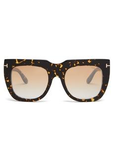 Tom Ford Eyewear Thea flat-top tortoiseshell acetate sunglasses