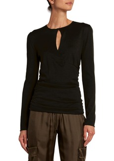 TOM FORD Fine Cashmere-Silk Wrapped Keyhole Top