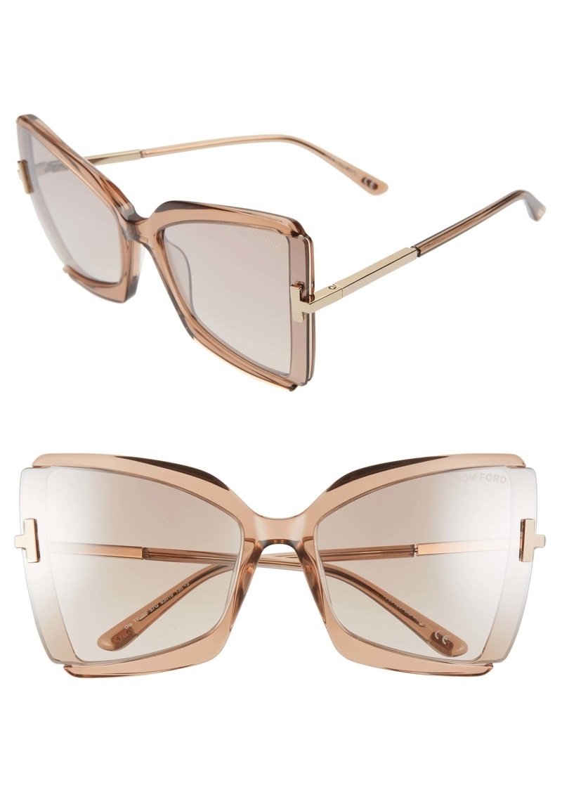 Tom Ford Gia 63mm Oversize Butterfly Sunglasses