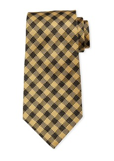 TOM FORD Gingham Plaid Silk/Linen Tie  Brown