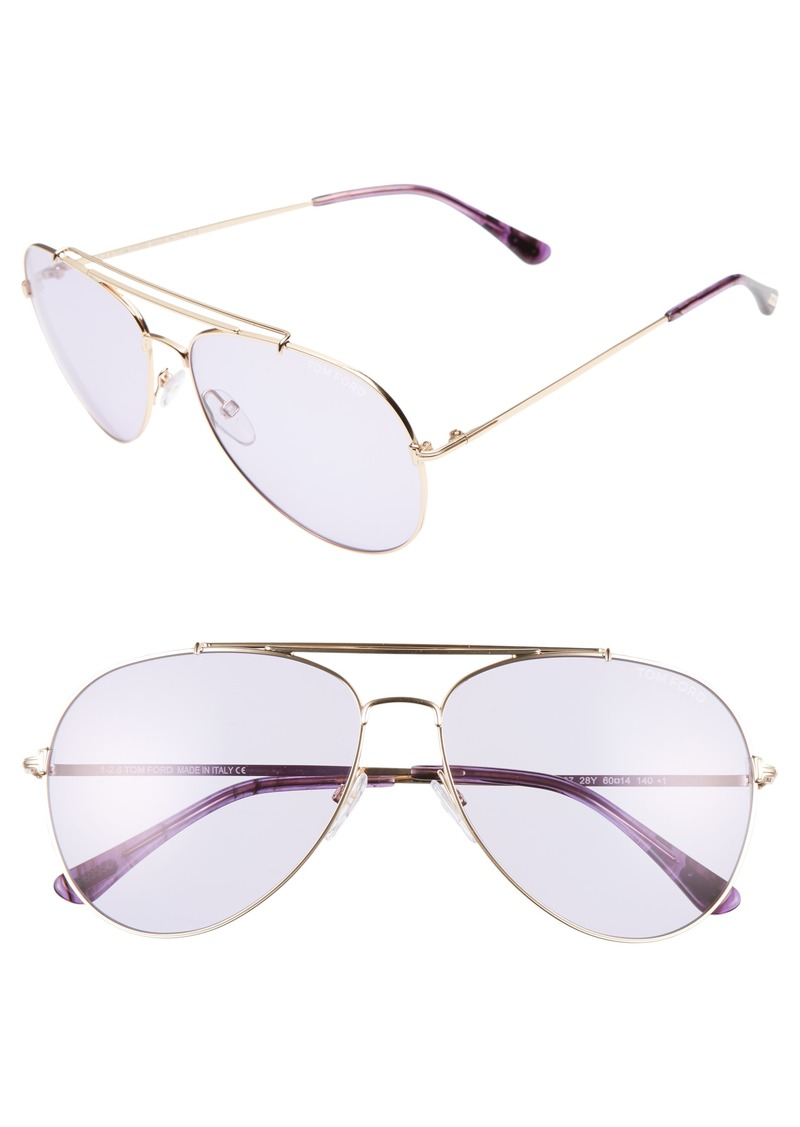 Tom Ford Indiana 60mm Aviator Sunglasses