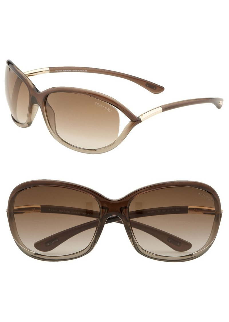 Tom Ford 'Jennifer' 61mm Oval Oversize Frame Sunglasses