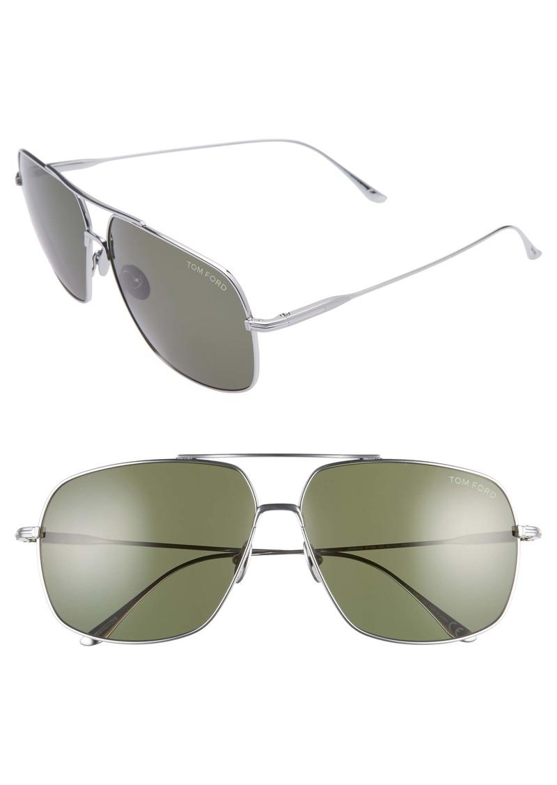 Tom Ford John 62mm Oversize Aviator Sunglasses